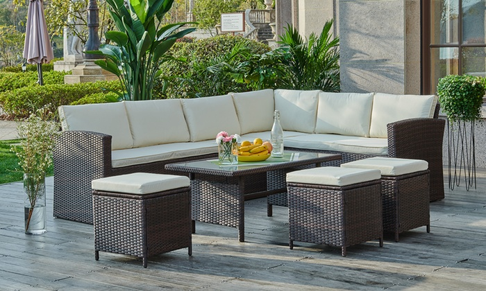 Rattan-Effect Corner Group Sofa Set with Optional Cover