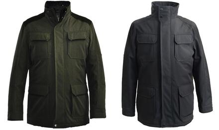 Tahari Men's Micro Tech Standing Collar Utility Jacket