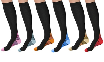 Athletic Compression Socks in Multiple Colours: Three Pairs $19 or Six Pairs $29 Don't Pay up to $139.98