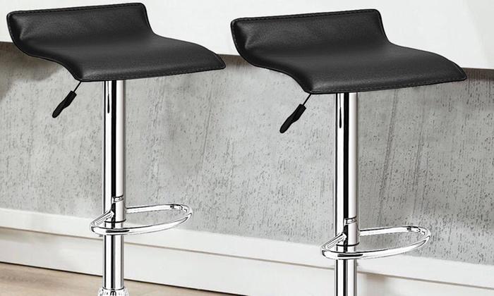 Enjoyable Adjustable Pu Leather Backless Swivel Bar Stools Set Of 2 Pabps2019 Chair Design Images Pabps2019Com