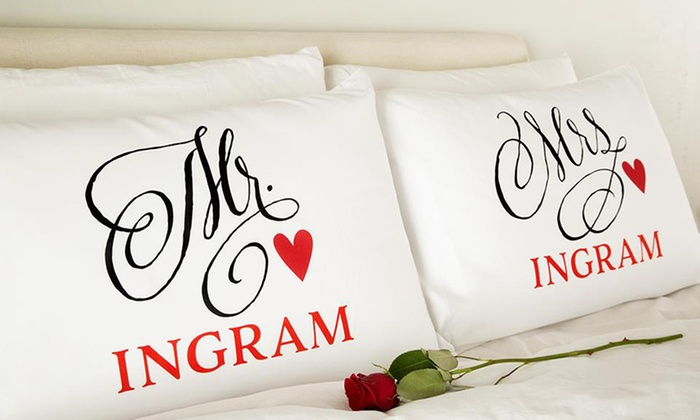 American Laser Crafts: One, Two, Three, Five, or 10 Personalized His and Hers Romantic Pillowcases from Qualtry (Up to 71% Off)