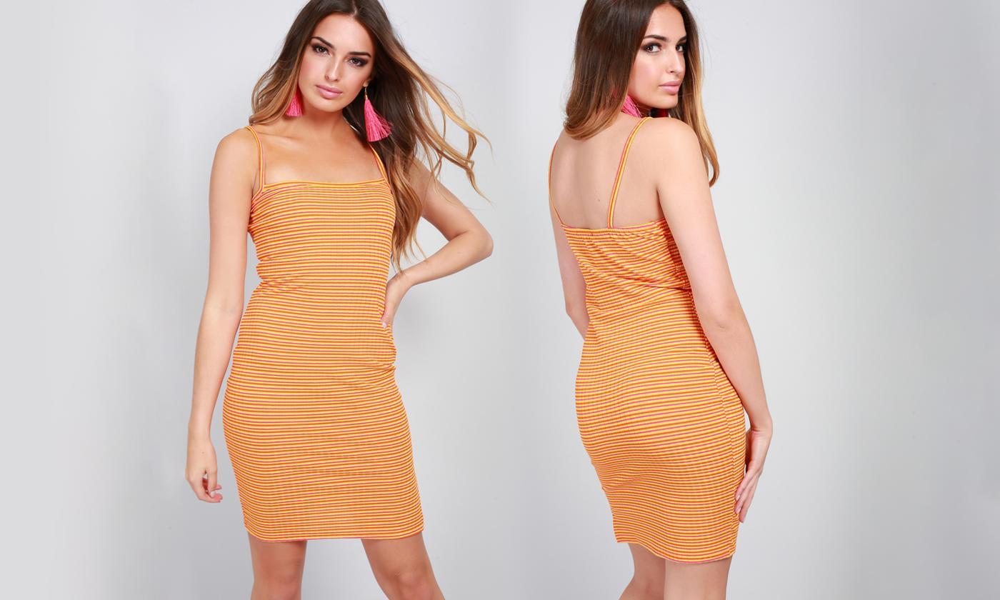 Square Neck Stripe Stretchy Mini Dress