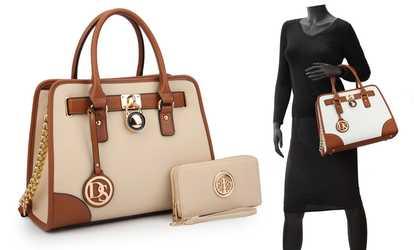 604558112b Shop Groupon MK Belted Top-Handle Satchel Bag with Wallet