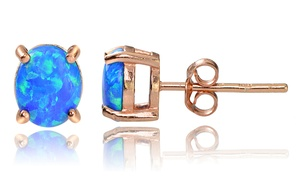 Blue Opal Stud Earrings in Rose Gold at Blue Opal Stud Earrings in Rose Gold, plus 9.0% Cash Back from Ebates.