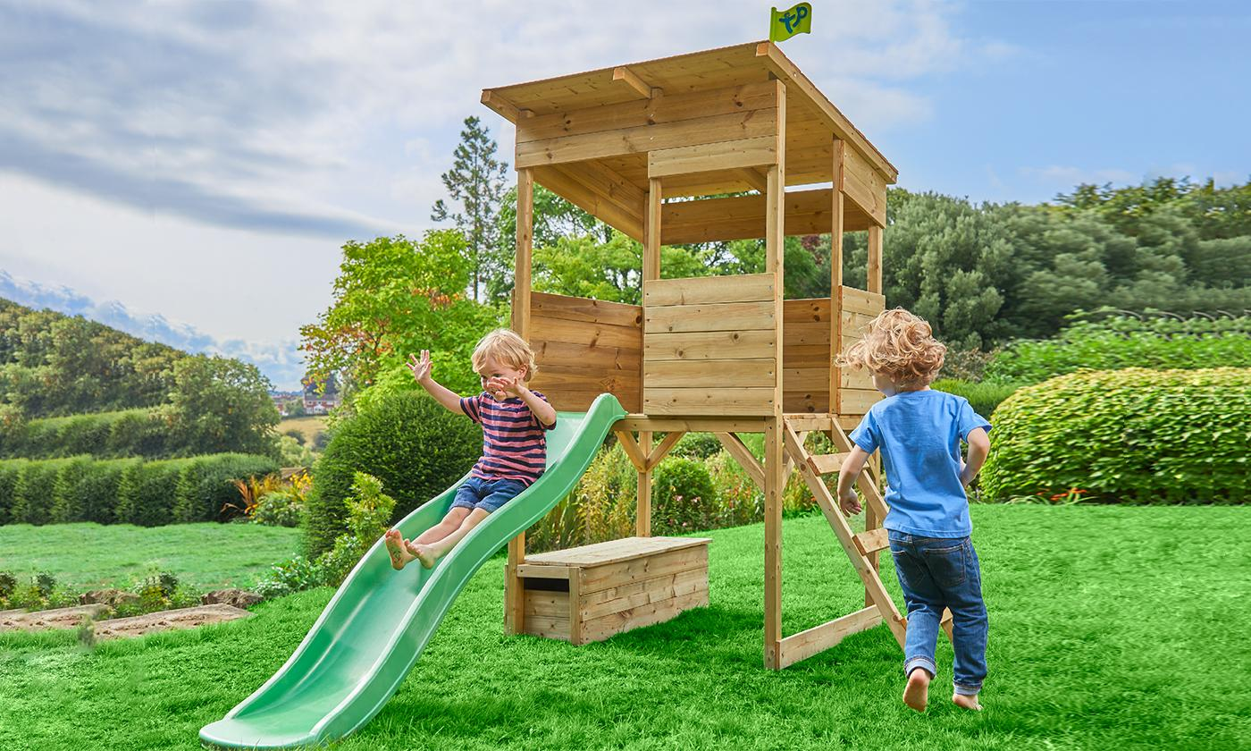 TP Toys Tree Tops Wooden Playhouse with Toy Box and Slide With Free Delivery