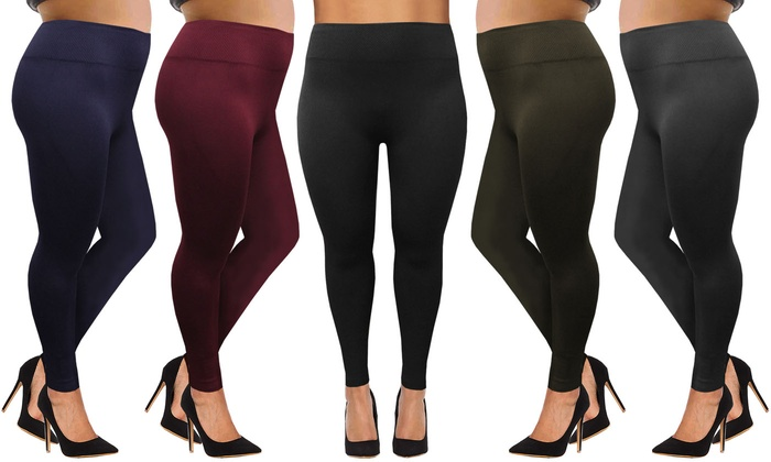Two-Pack of Plus Size Fleece-Lined Leggings for £9.98