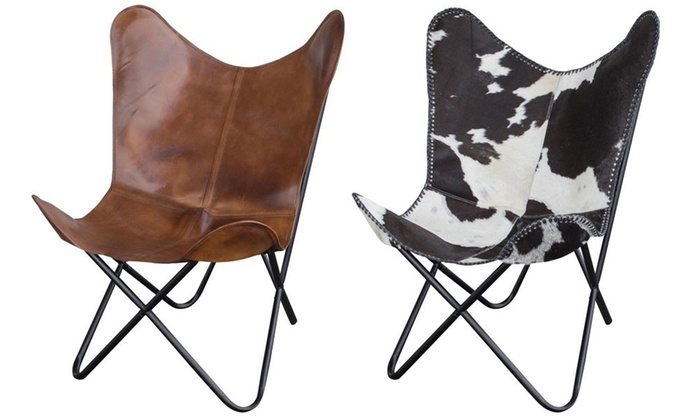 Amerihome Leather Butterfly Chair