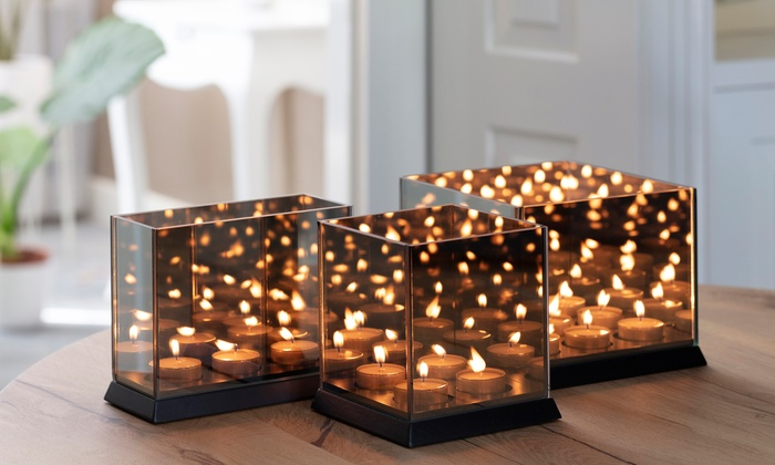 Candle Light Mirror Glass with 3D Effect