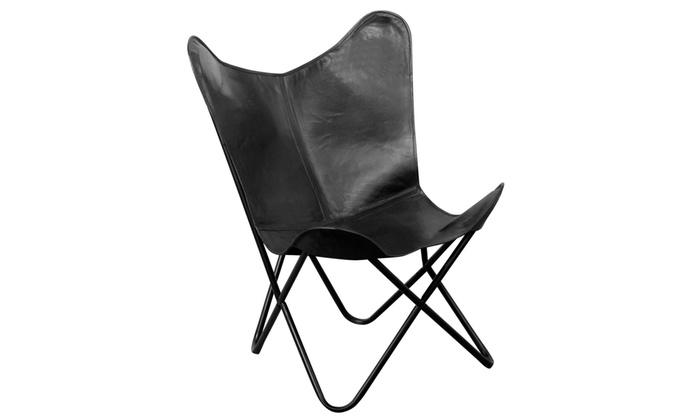 chaise papillon en cuir v ritable groupon. Black Bedroom Furniture Sets. Home Design Ideas