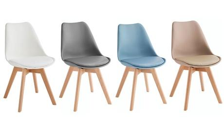 Set di 4 sedie con gambe in legno di faggio Twist design disponibili in 4 colori