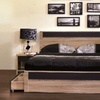 Jamie Modern Two-Tone Oak and Grey Wood Queen Bed