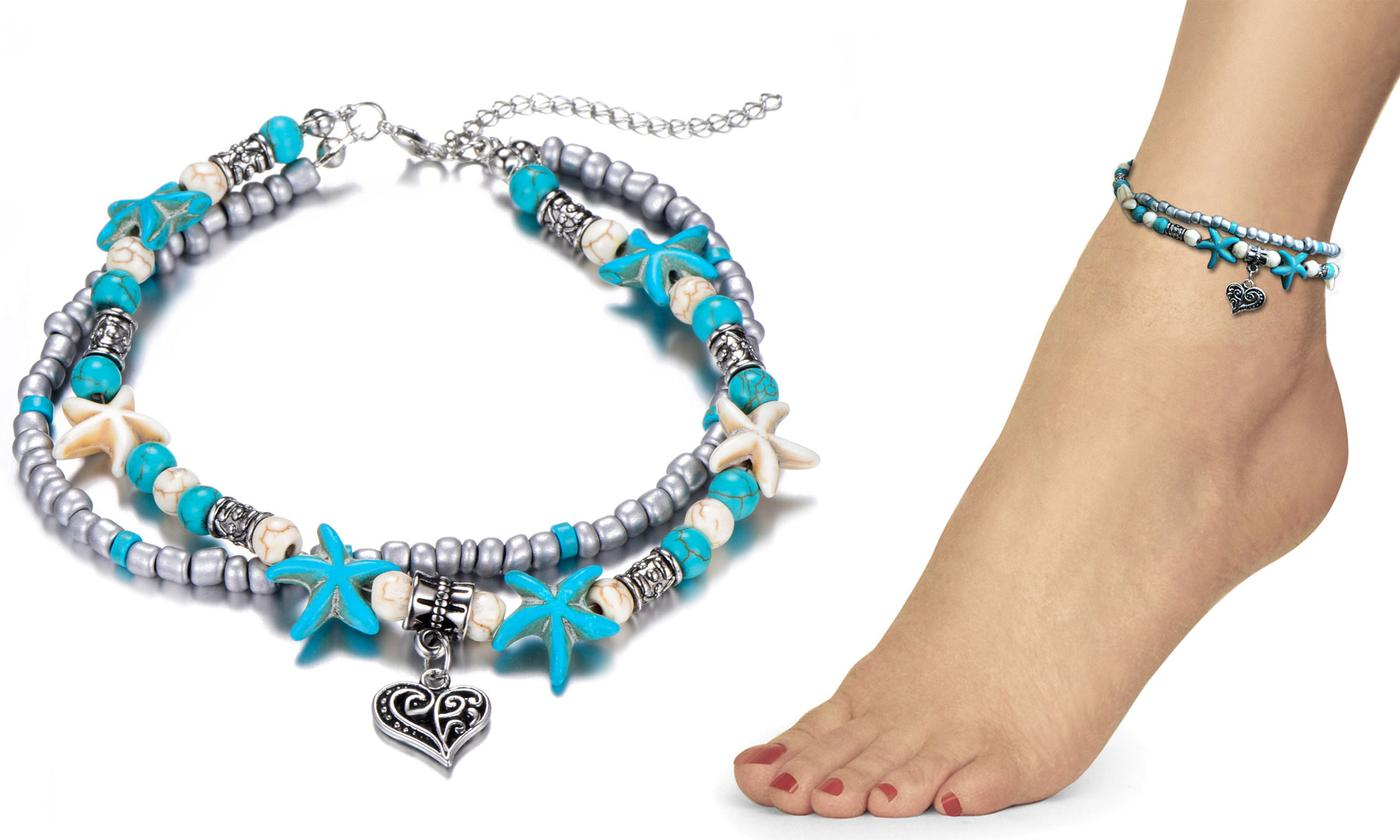 One or Two Philip Jones Turquoise Anklets