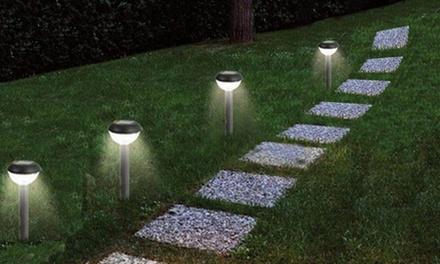 Fino a 8 lampade da giardino a ricarica solare con LED a luce bianca