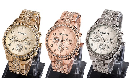 Gold, Silver, or RoseGold Geneva Bracelet Watch