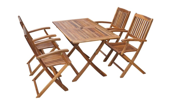 Hasta 4 conjunto de muebles de jard n groupon for Mesa plegable groupon