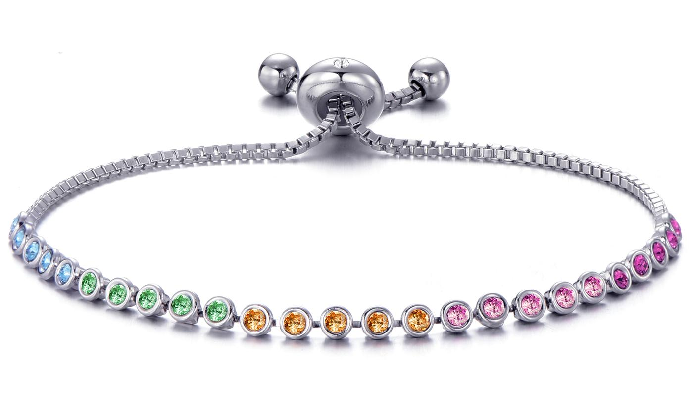 One or Two Philip Jones Rainbow Friendship Bracelets with Crystals from Swarovski®