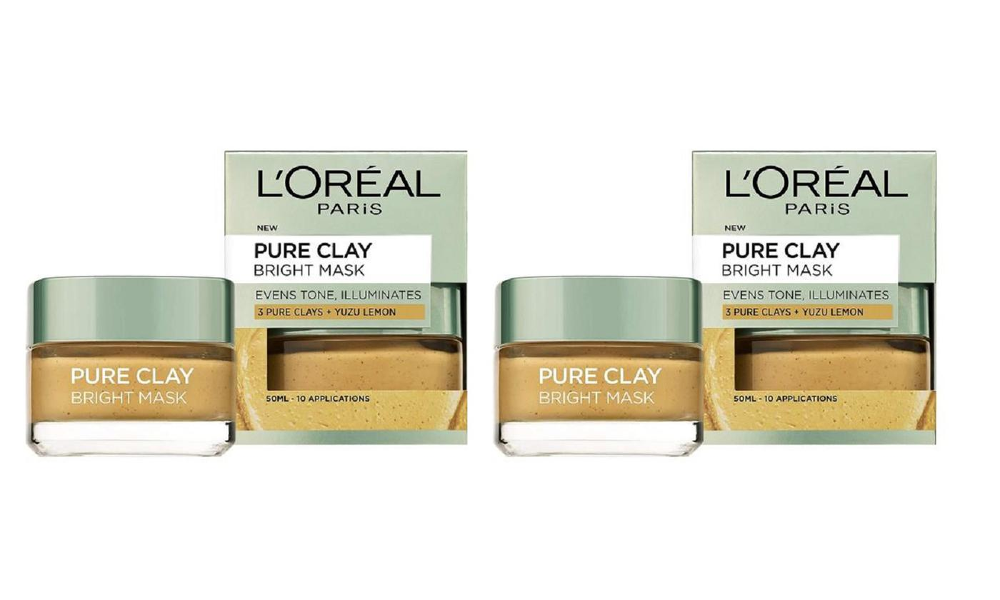 Two-Pack of L'Oreal Pure Clay Bright Masks