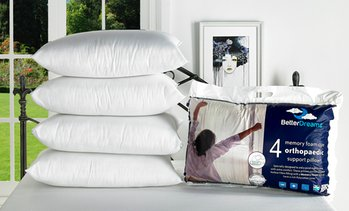 Four Memory Foam Core Pillows