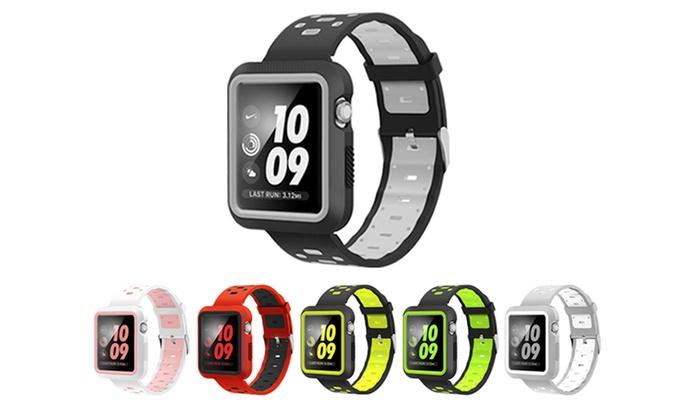 Groupon Goods Global GmbH: Bracelet sport  en silicone compatible avec Apple Watch séries 1, 2 & 3 & séries Nike+