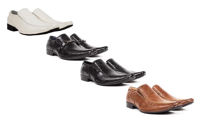 Bonafini Men's Lizard Print Slip-On Dress Shoes