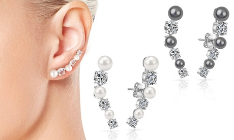 One or Two Pairs Philip Jones Pearl Climber Earrings with Crystals from Swarovski®