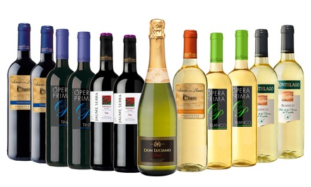 12 Bottle Case of Red, White or Mixed Spanish Wine for £45.99 With Free Delivery (51% Off)
