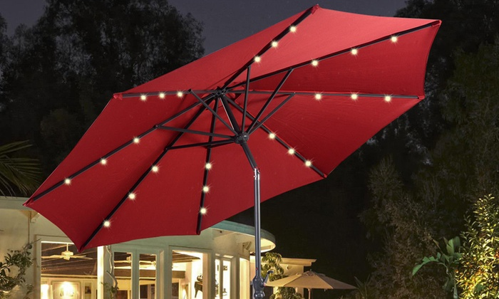Solar Patio Umbrella With Led Lights
