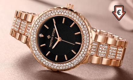 Montre ornée de 200 cristaux Swarovski® de la marque Timothy Stone, collection Gala. Livraison offerte