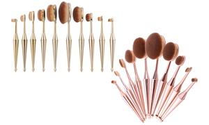 Professional Metallic Oval Makeup Brush Set (10-Piece)