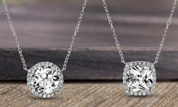 Lesa Michele Sterling Silver Halo Pendant Made With Swarovski Elements