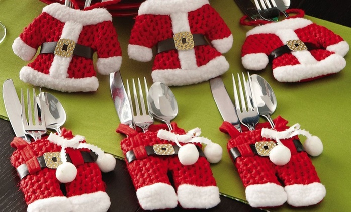 One, Two or Three Santa and Snowman Silverware Holder Pocket Sets from AED 59 (Up to 79% Off)