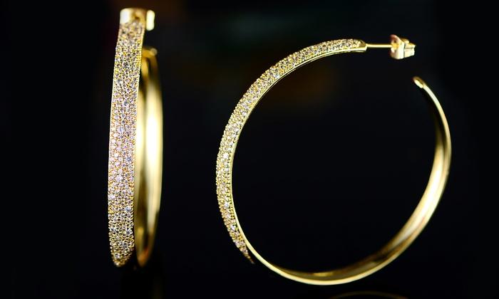 Barzel 18K Gold Plated Cubic Zirconia Hoop Huggie