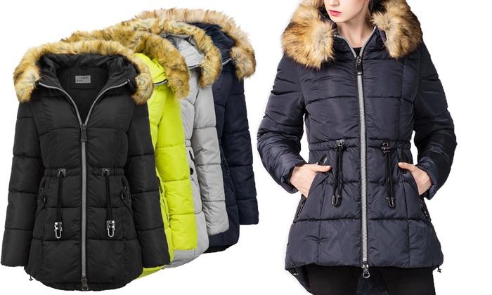 Bis zu 64% Rabatt Wintermantel mit Kapuze für Damen   Groupon d8a268b6f4