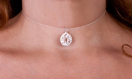 Silver- or Gold-Plated Monogram Pendant Choker from MonogramHub (Up to 84% Off)