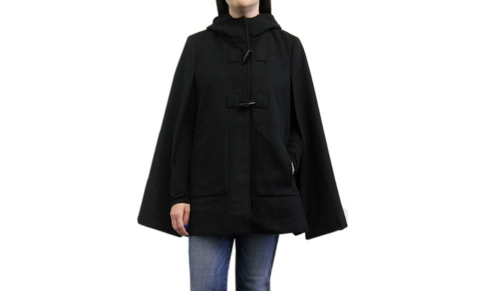 Women's Hooded Toggle-Front Cape