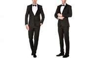 2-Pc Gino Vitale Men's Slim Fit Shawl Lapel Tuxedo