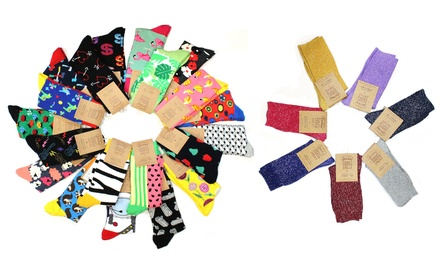 Novelty Socks: 6 Pairs , 12 Pairs or 20 Pairs $39 Don't Pay up to $318