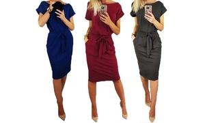 (Mode)  Robe en coton ceinture -13% réduction