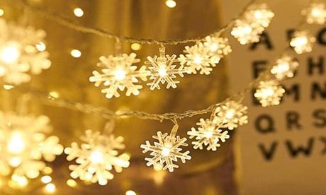 1 o 2 guirnaldas de luces de copos de nieve