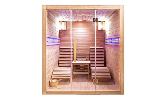 home deluxe traditionelle sauna groupon. Black Bedroom Furniture Sets. Home Design Ideas