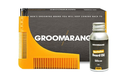 One or Two Groomarang Beard Comb and Oil Gift Sets