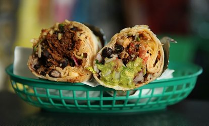Large Burrito with Margarita or Soft Drink for 1 ($14) or 2 People ($27) at Burrito Bar Park Ridge (Up to $46 Value)