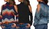 Kalte-Schulter-Langarmshirt für Damen