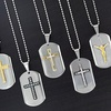 Stainless Steel Dog-Tag Pendants with Cross