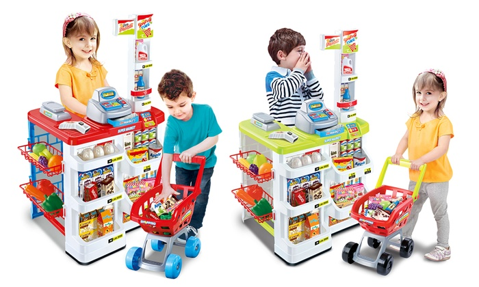 Groupon Goods Global GmbH: Children's Supermarket and Shopping Trolley Play Set