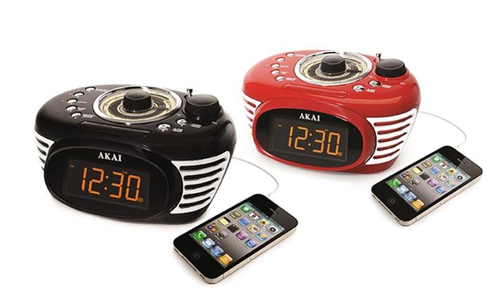 akai retro style alarm clock groupon goods. Black Bedroom Furniture Sets. Home Design Ideas