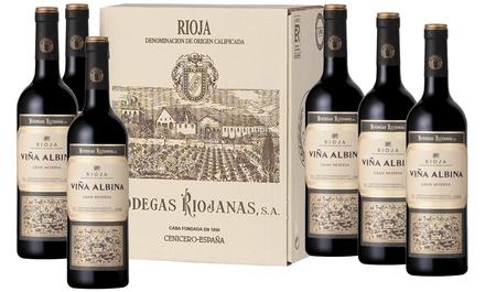 Caja de 6 botellas de vino tinto Viña Albina Gran Reserva D.O. Rioja 2009 (envío gratuito)