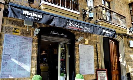 Menú para 2 o 4 con entrante, principal, postre y botella de vino o bebida desde 24,95 € en Mediterráneo
