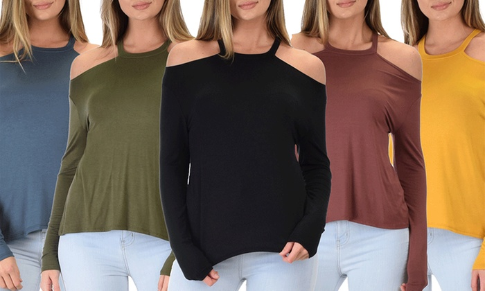 Lyss Loo Filled With Smiles Women's Long-Sleeve Cold Shoulder Top
