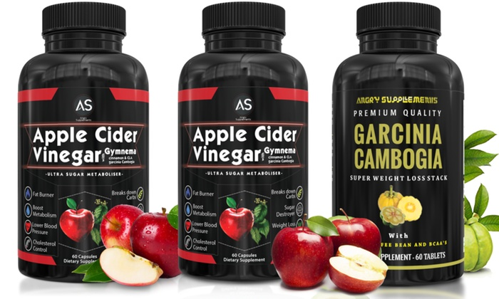 Angry Supplements Apple Cider Vinegar 2 Pack And Garcinia Cambogia 60 Count